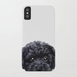 Black toy poodle Dog illustration original painting print iPhone Case