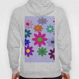 Flower Power - Light Purple Background - Fun Flowers - 60' Hippie Syle Hoody
