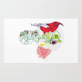 Red Ohia Lehua and Iwi Bird Rug