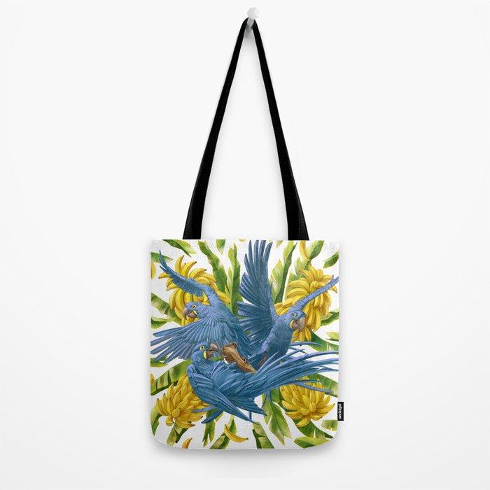 Hyacinth macaws and bananas Stravaganza. Tote Bag