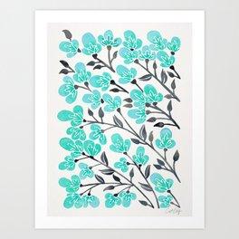 Cherry Blossoms – Turquoise & Black Palette Art Print