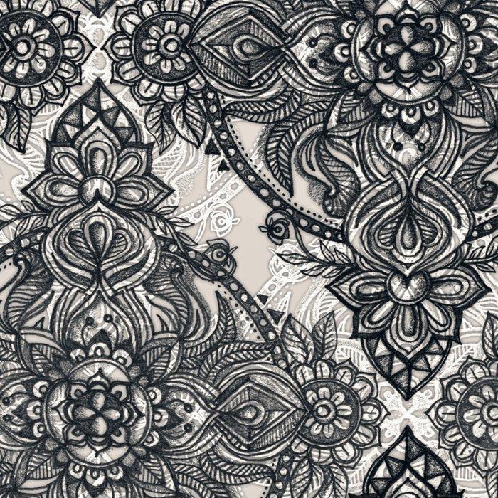 Charcoal Lace Pencil Doodle Leggings