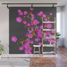 Pink Morning Glories on Charcoal Grey Art Design Wall Mural
