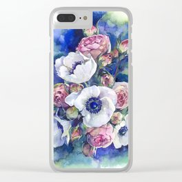 Watercolor anemone roses flowers Clear iPhone Case