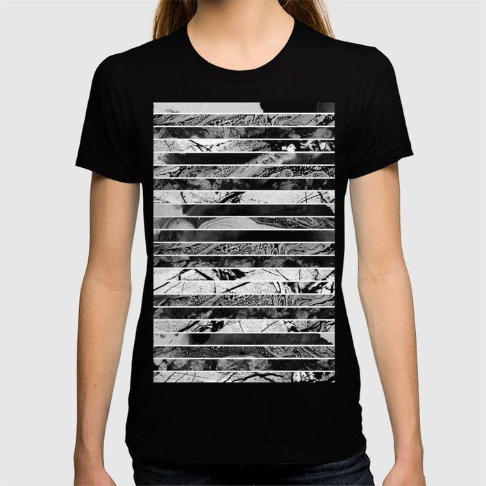 Black And White Layered Collage - Textured, mixed media T-shirt