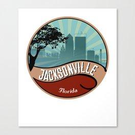 Jacksonville City Skyline Design Florida Retro Vintage 80s Canvas Print