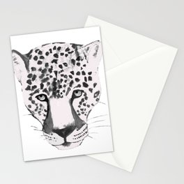 Leopard Head, Leopard Portrait, Leopard Face black and white Stationery Cards
