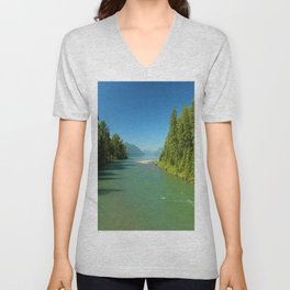 Green Waters Of McDonald River And Lake Unisex V-Neck