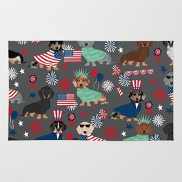 Dachshund july 4th patriotic dog breed pattern doxie dachsie lovers america Rug