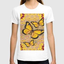 Yellow Monarch Butterflies Burgundy Floral Fantasy T-shirt