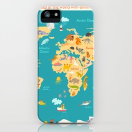 Animal map for kid. World vector poster iPhone Case