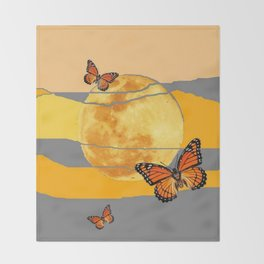 MOON & MONARCH BUTTERFLIES DESERT SKY ABSTRACT ART Throw Blanket