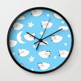 Cartoon cats sleeping seamless background for children Wall Clock
