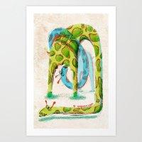 giraffes Art Prints featuring Giraffes by Orenso