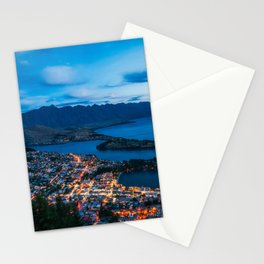 Queenstown City Lights from Skyline, New Zealand Stationery Cards