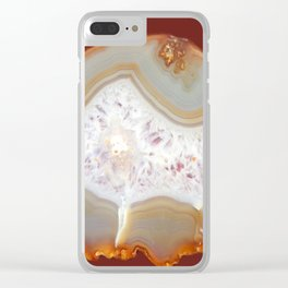 agate, quartz brown gold beige Clear iPhone Case