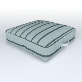 Night Watch PPG1145-7 Hand Drawn Horizontal Stripes on Blue Willow Green PPG1145-4 Outdoor Floor Cushion