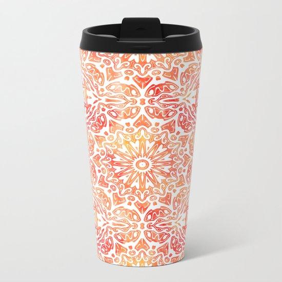 Oriental Watercolor ornament pattern yellow orange Metal Travel Mug