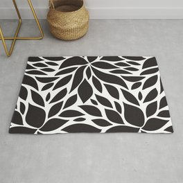 Pattern Petals black and white Rug