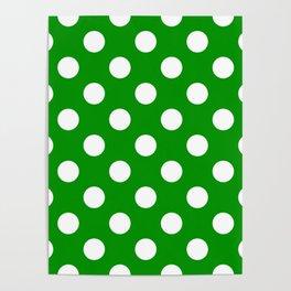 Islamic green - green - White Polka Dots - Pois Pattern Poster