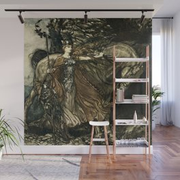 """""""Brunhilde With Her Horse"""" by Arthur Rackham Wall Mural"""