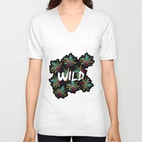 into the wild V-neck T-shirts featuring Wild by Camila Escat
