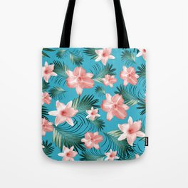 Tropical Flowers Palm Leaves Finesse #8 #tropical #decor #art #society6 Tote Bag