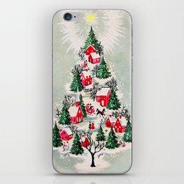 Vintage Christmas Tree Village iPhone Skin