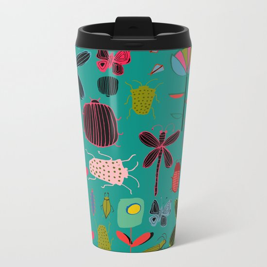 bugs and insects green Metal Travel Mug