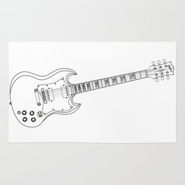 Solid Guitar Line Drawing Rug
