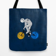 Astronaut on bicycle Tote Bag