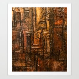 Rich Brown Bronze Heavy Textured Acrylic Painting Art Print