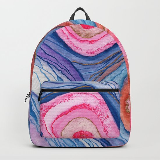 AGATE Inspired Watercolor Abstract 04 Backpack