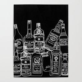 Pop Bottles Black Poster