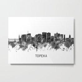 Topeka Kansas Skyline BW Metal Print