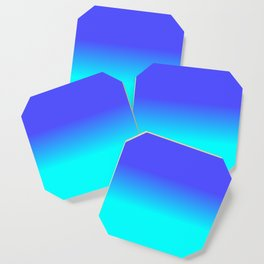 Neon Blue and Bright Neon Aqua Ombré Shade Color Fade Coaster