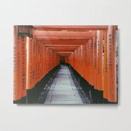 Kyoto Fushimi Inari Taisha RED JAPAN Black and White Digital Film Photography Pop Art Metal Print