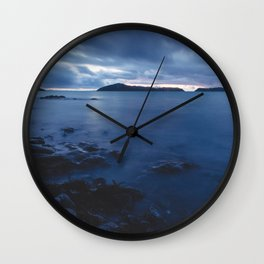 Blue Sunset on the Water, New Zealand Wall Clock