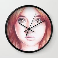 karen hallion Wall Clocks featuring karen gillan by Jill Schell