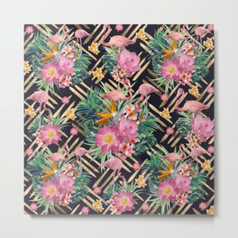 Tropical floral, flamingos and gold strokes pattern Metal Print