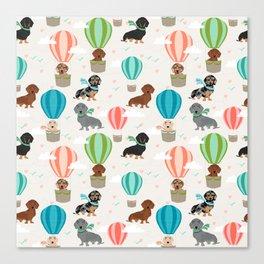 Dachshund hot air balloon dog cute design fabric doxie pillow decor phone case Canvas Print