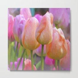 Spring Pastel Tulips Metal Print
