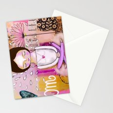 Om meditation woman Stationery Cards