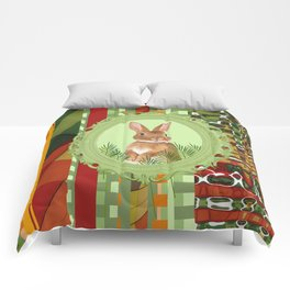 Bunny in green frame with geometric background stripes Comforters