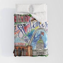 St. Louis Skyline Watercolor Duvet Cover