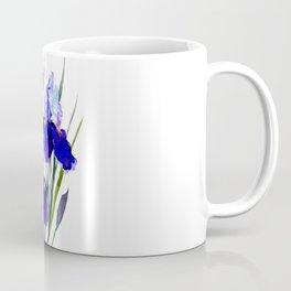 Garden Irises, Blue Purple Floral Design Coffee Mug