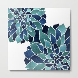 Festive, Floral Prints, Navy Blue and Teal on White Metal Print