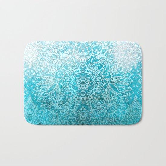 Fade to Teal - watercolor + doodle Bath Mat