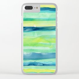 Spring Colors Stripes Pattern Blue Green Yellow Clear iPhone Case