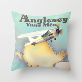Anglesey Vintage style travel poster. Throw Pillow